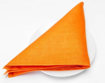 10 pcs flax LINEN CLOTH NAPKINS - made in Europe - Orange - Various Sizes