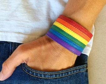 Gay pride bracelet, lgbt pride bracelet, gay flag bracelet, rainbow leather bracelet, lesbian pride, gay jewelry, gay pride flag, queer.