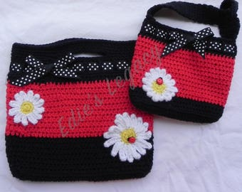 Mommy and me purse, Ladybugs, Sisters purses, Handbag, black red purse