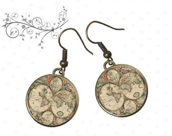 world map jewelry, earrings vintage card, card, travel, resin cabochons