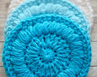 Blue and White Crocheted Cotton Face Scrubbies