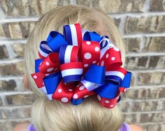 4th of July Hair Bow, patriotic hair bows, red white and blue hair bows, hair bows, hair clips, 4th of july hair clips, hair accessories