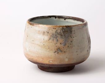 Shino glazed bowl with ash accents