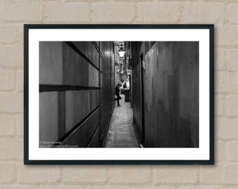 Woman in alleyway. Photography Prints, home decor, home prints, gifts, wall art, prints, gift ideas, home accessories, art prints