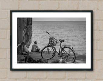 Man, Bike, Ocean. Photography Prints, home decor, home prints, gifts, wall art, prints, gift ideas, home accessories, art prints