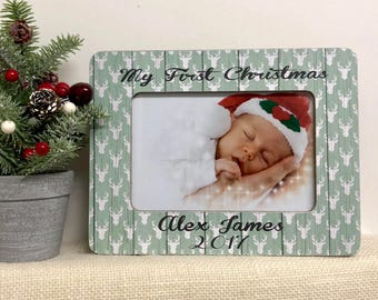 Baby's First Christmas  Baby Frame  Personalized Christmas Baby  Christmas Gift Idea  Christmas Frame  Personalized Christmas Gift