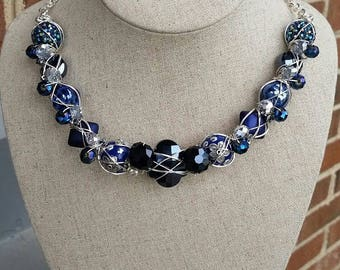True Blue Wire Wrapped Necklace