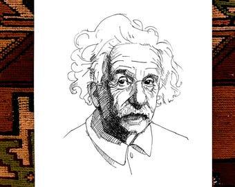 Albert Einstein Ink Drawing