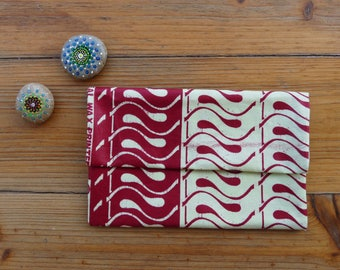 African wax fabric red rectangular box ivory and red with inside pocket/African fabric clutch with press Stud