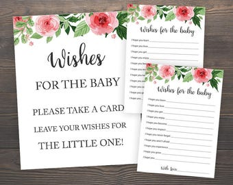 Wishes for the baby cards, Baby Shower Games, Floral Baby Shower, Wishes for the baby sign, Baby Wishes, Printable Baby Shower Game, GR7