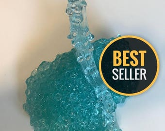 Teal Fishbowl Slime -  Teal/Clear Slime with Fishbowl Beads (includes Extras) - Best Slime - Popular slime - Crunchy Slime
