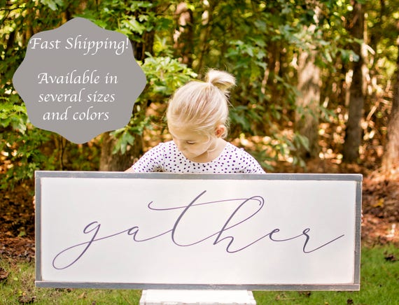 Gather Sign | Gather Sign Large | Gather Wood Sign | Gather Sign Wood | Dining Room Signs | Dining Room Wall Decor | Thanksgiving Signs