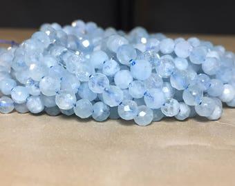 4mm Genuine Faceted Aquamarine Gemstone Round 4mm Loose Beads 15.5 inch Full Strand, Aquamarine Beads, Natural Aquamarine Beads