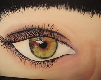 ICU... (I see you) Cotton canvas 30 x 40 cm