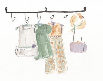 Dresses. Dress. Original watercolor