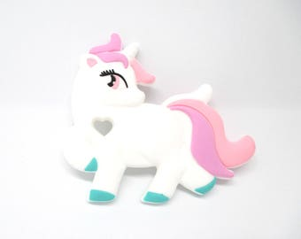 Unicorn silicone special teething tender white/pink
