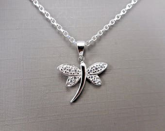 Sterling silver Dragonfly  Necklace, Bug pendant,  dainty necklace, gift for her, silver dragonfly, CZ dragonfly necklace, Teen gift