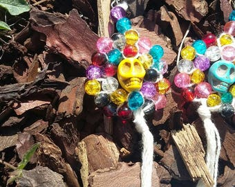 Skull earrings and colorful beads