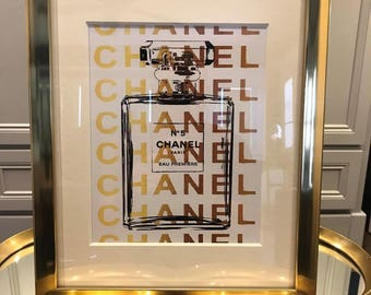 "COCO CHANEL inspired print in gold frame 11""x14"""
