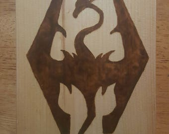 Woodburned Imperial Logo from Skyrim