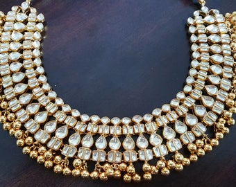 High quality kundan necklace with gold beads bridal wear party wear jewelry