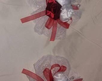 Red satin rose corsage set of 2