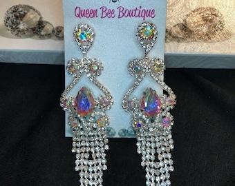 Austrian  Crystal  AB Waterfall  Earrings