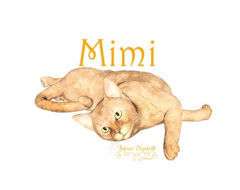 Cat Mimi 1, beige, Watercolor Clipart, Baby, Child, Fun, Craft