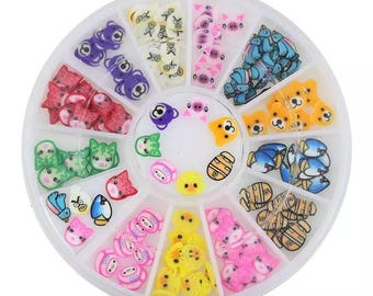 12 Design for Animal Fimo Wheel Nail Decorations Ongle Polymer Supplies 3D Art Nail ZP124