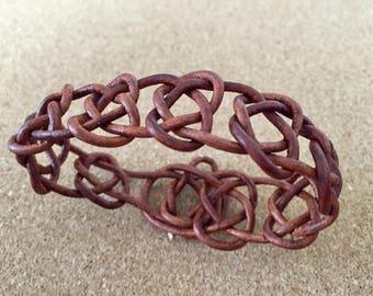 Distressed Leather Josephine Knot Cuff Bracelet