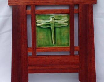 "Frame, Mission Frame, Wood Frame, Tile Frame, Craftsman Frame, 4""x4"" Art Tile, Padauk, Arts and Craft style, Unique Frame, Dragon Fly Tile"