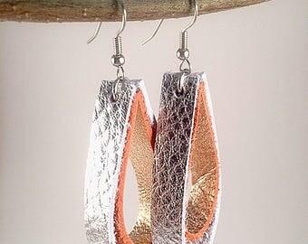 Boho Earrings, Silver and Rose Gold Leather Earrings, Dangling Earrings, Hippie Earrings, Gypsy Earrings, Boho Jewelry, Bohemian Earrings