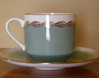 VINTAGE AYNSLEY TURQUOISE gols tea cup and saucer