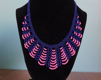 Blue/p!nk handmade beaded necklace