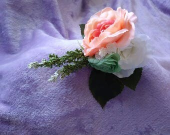Mint..coral and ivory silk boutineers