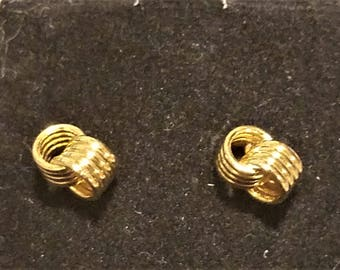 Vintage 14K Solid Gold Love Knot Post Earrings