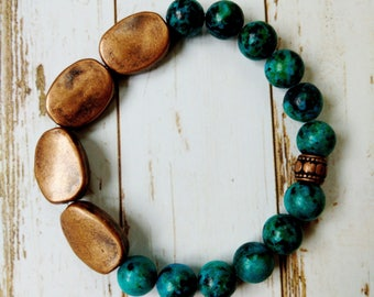 Dyed Stone and Copper Bracelet