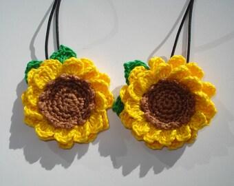 Sunflower Hair Tie, Crochet Cotton Sunflower Hair Tie, Boho Style Hair Tie, Crochet Flower Hair Accessories, Girl's Hair Tie, Gift for Girls