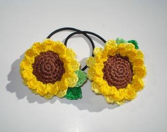 Crochet Sunflower Hair Tie,  Cotton Sunflower Hair Tie, Crochet Flower Hair Accessories, Girl's Hair Tie, Gift for Girls, Crochet Sunflower