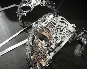 Couples Masquerade Masks, Metal Phantom Men Women Venetian Eye Party Masquerade Masks Half Skull White Costume Prom Bdsm Couple Mask