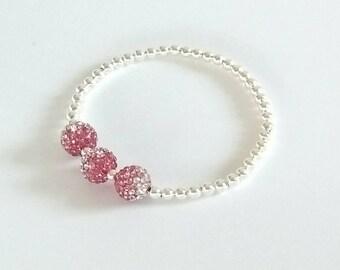 Rose Pink Crystal Bracelet, Silver Bracelet, Stretch Bracelet, Beaded Bracelet, Crystal Ball Bracelet, Sparkly Bracelet, Bridesmaid