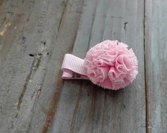 Pink tulle Pompom hair clip Barrette