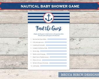 Find The Guest Game U2013 Nautical Theme U2013 Baby Boy U2013 Baby Shower Games U2013  Stripes