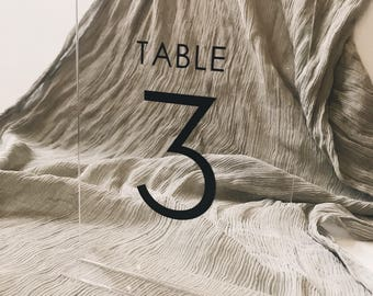 Acrylic Rectangular Table Numbers // Freestanding // Hand lettered // Vinyl // Calligraphy