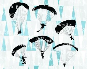 Parachutist SVG, Parachutism SVG, Parachute SVG, Free fall Svg, Parachuting Svg, Landing Svg, Instant download, Eps - Dxf - Png - Svg