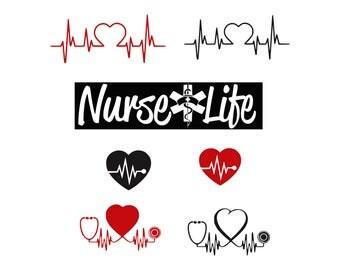 stethoscope svg nurse life svg svg files  DIY Vinyl Decal Heart Shaped Stethoscope svg files for cricut silhouette Vector files