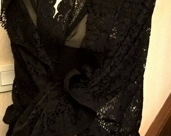 Black Lace wedding shawl