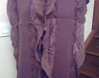 Knit cotton and mohair and Brown silk scarf