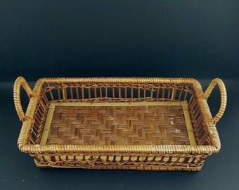 Hand made tray - Tray - Wicker tray - Wood tray