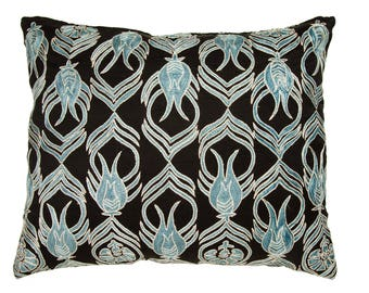 Turquoise Suzani Pillow Case,blue suzani pillow,suzani pillow,suzani throw pillow,suzani lumbar,elegant suzani,tulip desgn,floral suzani